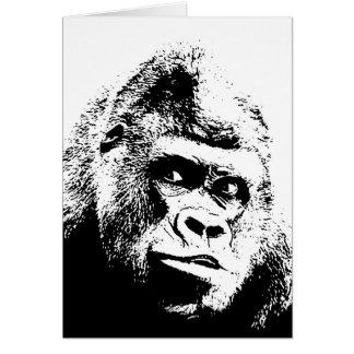 Black White Pop Art Gorilla Card