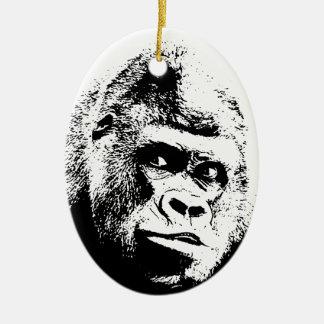 Black White Pop Art Gorilla Ceramic Ornament