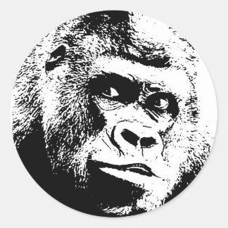 Black White Pop Art Gorilla Classic Round Sticker