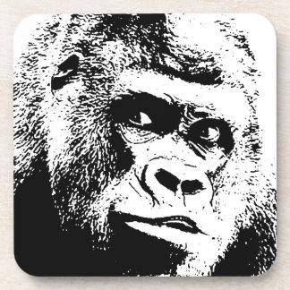 Black White Pop Art Gorilla Drink Coaster
