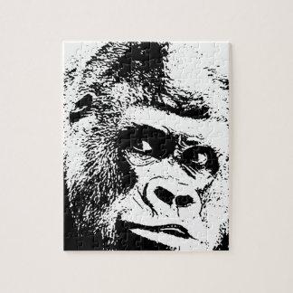Black White Pop Art Gorilla Jigsaw Puzzle