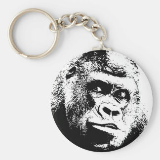 Black White Pop Art Gorilla Keychain