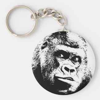 Black White Pop Art Gorilla Keychain
