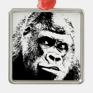 Black White Pop Art Gorilla Metal Ornament