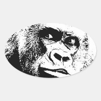 Black White Pop Art Gorilla Oval Sticker