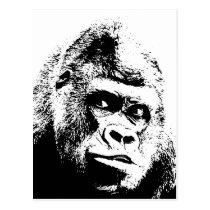 Black White Pop Art Gorilla Postcard