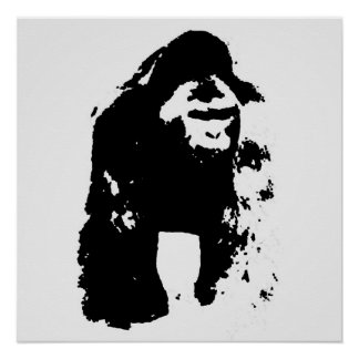 Black & White Pop Art Gorilla Poster