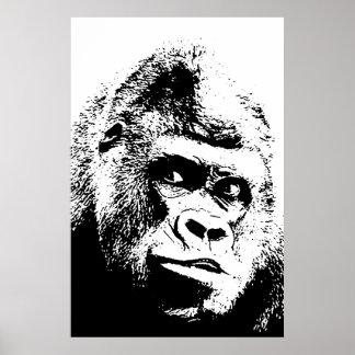 Black White Pop Art Gorilla Poster
