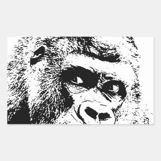 Black White Pop Art Gorilla Rectangular Sticker