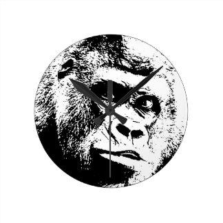 Black White Pop Art Gorilla Round Clock