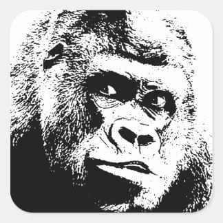Black White Pop Art Gorilla Square Sticker