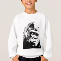 Black White Pop Art Gorilla Sweatshirt