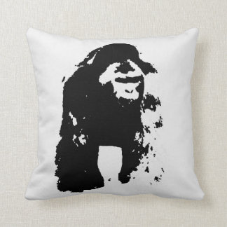 Black White Pop Art Gorilla Throw Pillow