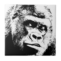 Black White Pop Art Gorilla Tile