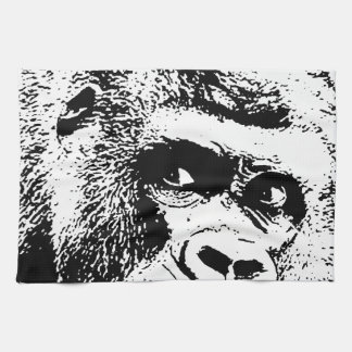 Black White Pop Art Gorilla Towels