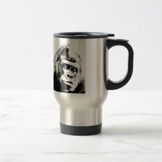 Black White Pop Art Gorilla Travel Mug