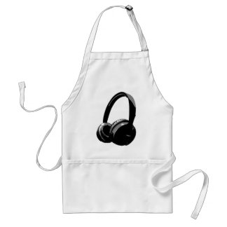 Black & White Pop Art Headphone Adult Apron