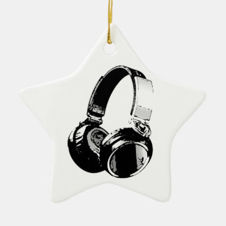 Black & White Pop Art Headphone Ceramic Ornament