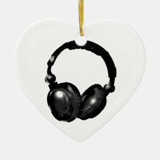 Black & White Pop Art Headphone Ceramic Ornament