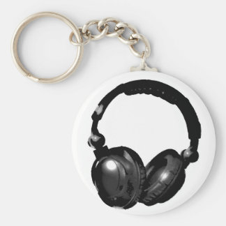 Black & White Pop Art Headphone Keychain