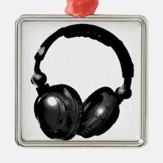 Black & White Pop Art Headphone Metal Ornament