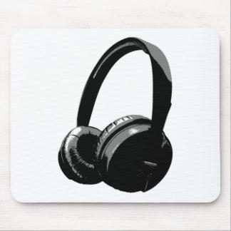 Black & White Pop Art Headphone Mouse Pad