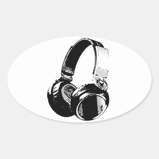 Black & White Pop Art Headphone Oval Sticker