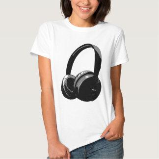 Black & White Pop Art Headphone T Shirt