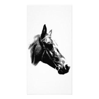 Black White Pop Art Horse Custom Photo Card