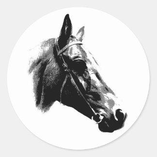Black & White Pop Art Horse Round Stickers