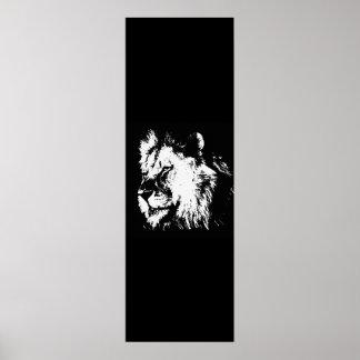 Black White Pop Art Lion Vertical Door Poster