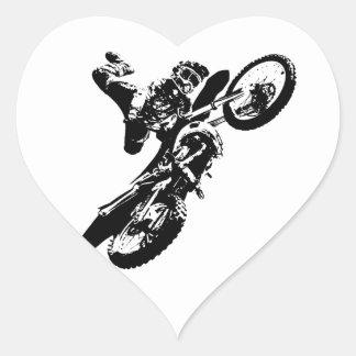 Black White Pop Art Motocross Motorcyle Sport Heart Sticker