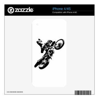 Black White Pop Art Motocross Motorcyle Sport Skins For iPhone 4