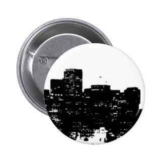 Black White Pop Art New York City Button