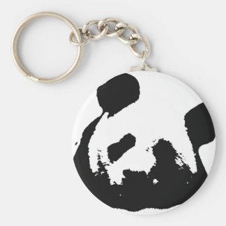 Black White Pop Art Panda Basic Round Button Keychain