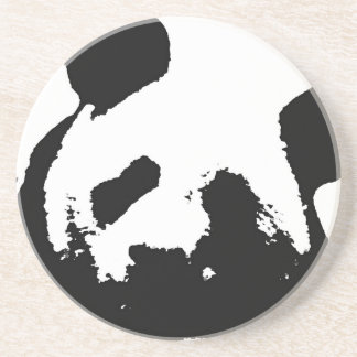 Black White Pop Art Panda Drink Coaster