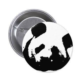 Black White Pop Art Panda Pinback Button