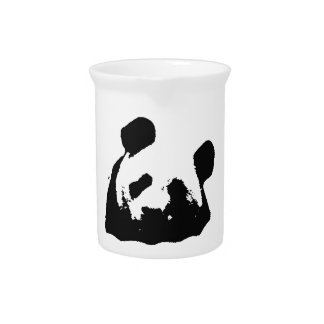 Black White Pop Art Panda Pitchers