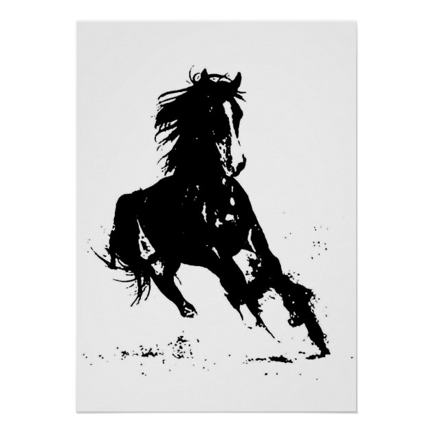 Black White Pop Art Running Horse Silhouette Poster Zazzle Com