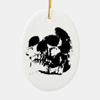 Black & White Pop Art Skull Ceramic Ornament