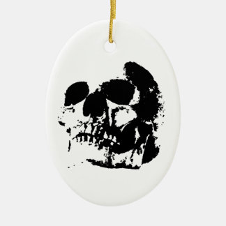 Black & White Pop Art Skull Double-Sided Oval Ceramic Christmas Ornament