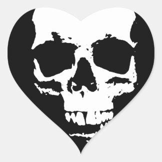 Black & White Pop Art Skull Heart Sticker
