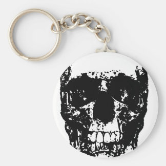 Black & White Pop Art Skull Keychain