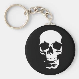 Black & White Pop Art Skull Keychain
