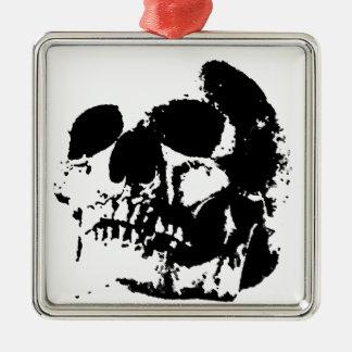 Black & White Pop Art Skull Metal Ornament
