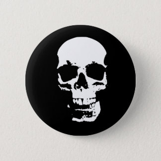 Black & White Pop Art Skull Pinback Button