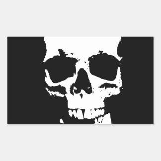 Black & White Pop Art Skull Rectangular Sticker