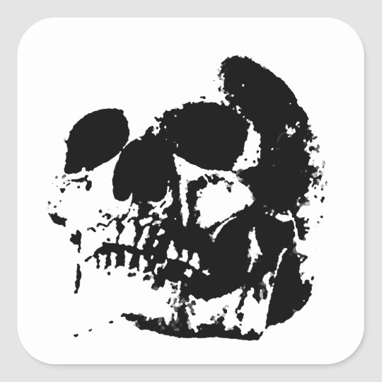 Black white pop art skull square sticker