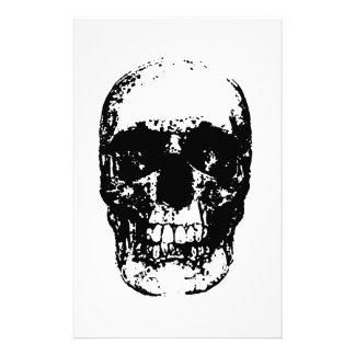 Black & White Pop Art Skull Stationery