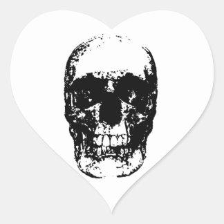 Black White Pop Art Skull Heart Stickers
